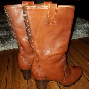 Frye Fiona Brown Leather Mid Calf Boots 8.5